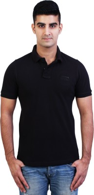 Bridge Solid Men's Polo Neck Black T-Shirt