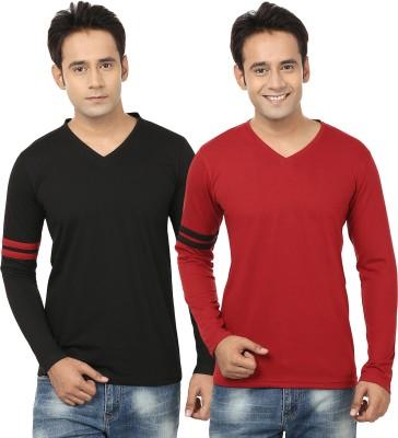 Jangoboy Solid Men,s V-neck Black, Maroon T-Shirt