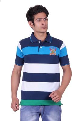 JAYIS Striped Men's Polo Neck Blue T-Shirt