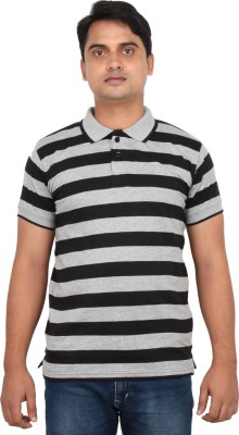 LOOX by Apoorti Striped Men's Polo Neck Grey, Black T-Shirt
