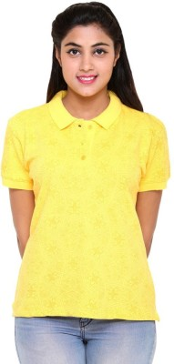 Colors & Blends Printed Women's Polo Neck Yellow T-Shirt