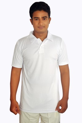 Dyed Colors Solid Men's Polo Neck White, White T-Shirt