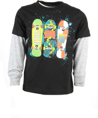 Nike Kids Printed Boy's Round Neck Black T-Shirt