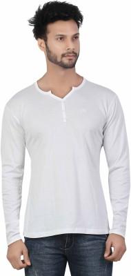 Afylish Solid Men's Henley White T-Shirt