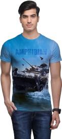 Wear Your Mind Graphic Print Men's Round Neck Blue T-Shirt