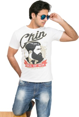 Daily Label Graphic Print Men's Round Neck White T-Shirt