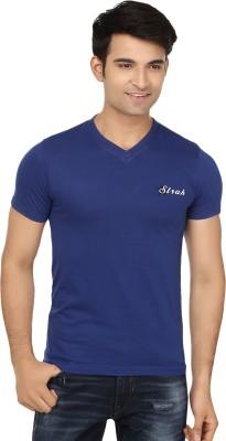 Strak Solid Men's V-neck Blue T-Shirt