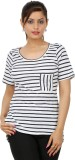 Wardtrobe Striped Women's Round Neck Blu...