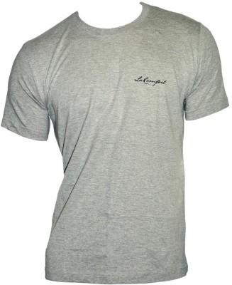 LaKomfort Solid Men's Round Neck Grey T-Shirt