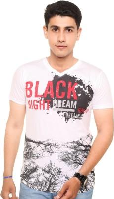 Zwizdot Printed Men,s V-neck White T-Shirt