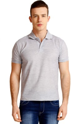 Faded Finch Solid Men's Polo Neck Grey T-Shirt