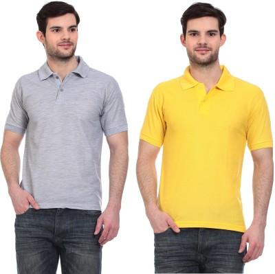 Blue-Tuff Solid Men,s Polo Neck Grey, Yellow T-Shirt