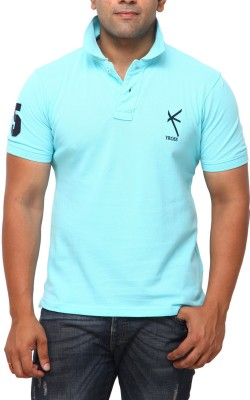 Yross Self Design Mens Polo Neck Blue T-Shirt