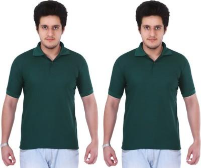 NGT Solid Men's Polo Neck Dark Green, Dark Green T-Shirt
