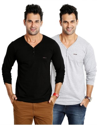 Rodid Solid Men's V-neck Black, Grey T-Shirt