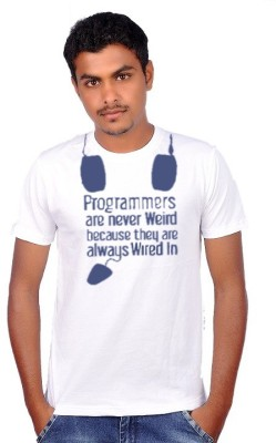 Amla Printed Men's Round Neck White T-Shirt