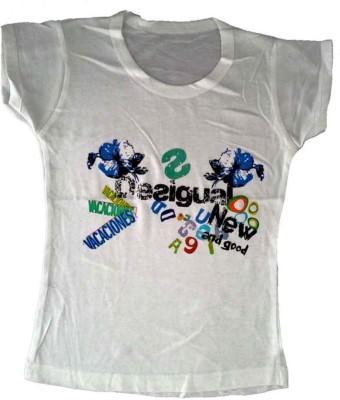 Cool Baby Printed Girl's Round Neck White T-Shirt