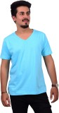 Ditto Solid Men's V-neck Blue T-Shirt