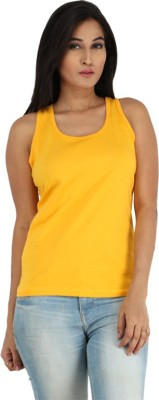 Mighty Mojo Solid Women's Round Neck Yellow T-Shirt