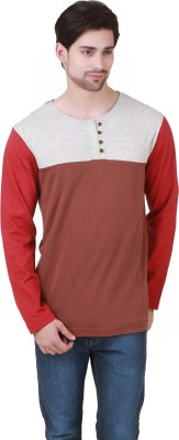 Cherymoya Solid Men's Henley Brown T-Shirt