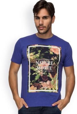 Blue Monkey Printed Men's Round Neck Blue T-Shirt