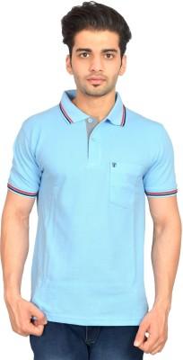 Urban Trail Solid Men's Polo Neck Light Blue T-Shirt