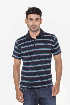 Gleneagles Striped Men's Polo Neck Dark Blue T-Shirt