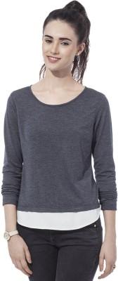 Besiva Solid Women's Round Neck Grey T-Shirt
