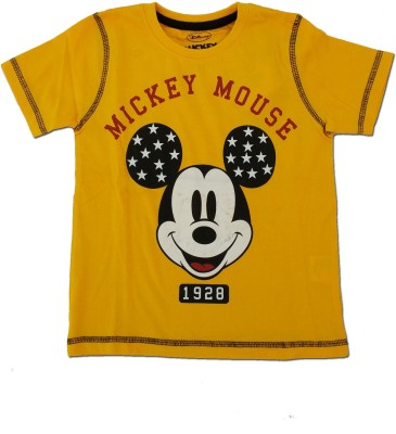 Kuddle Kid Printed Boy's Round Neck Yellow T-Shirt