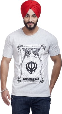 Nihaal Printed Men,s Round Neck Grey T-Shirt
