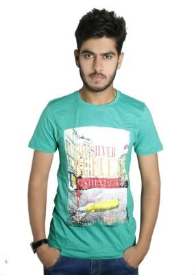 live green Graphic Print Boy's Round Neck T-Shirt