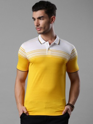 Invictus Striped Men's Polo Neck Yellow, White T-Shirt