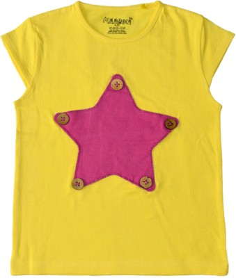 Maaron Solid Baby Girl,s Round Neck Yellow, Pink T-Shirt