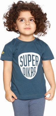 Daddy's Capes Printed Girl's Round Neck Dark Blue, White T-Shirt