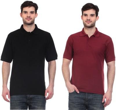 Blue-Tuff Solid Men,s Polo Neck Black, Maroon T-Shirt