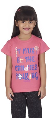 Super Young Printed Girl's Round Neck Pink T-Shirt