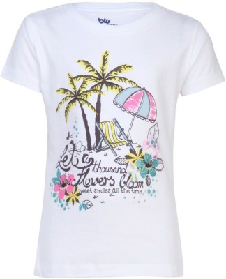 Bells and Whistles Printed Girl's Round Neck White T-Shirt