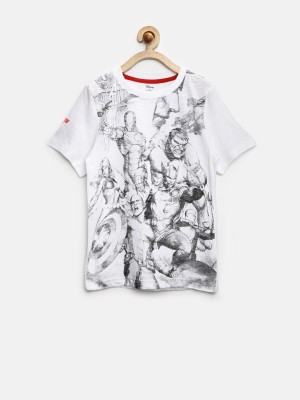 YK Printed Boy's Round Neck White T-Shirt
