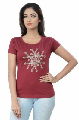 TSG Breeze Printed Women's Round Neck Maroon T-Shirt