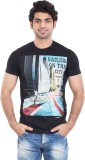 Zulements Printed Men's Round Neck Black...