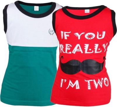 Gkidz Printed Boy's Round Neck Red, Green T-Shirt