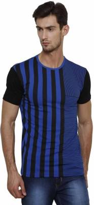 Crux&Hunter Striped Men's Round Neck Blue T-Shirt