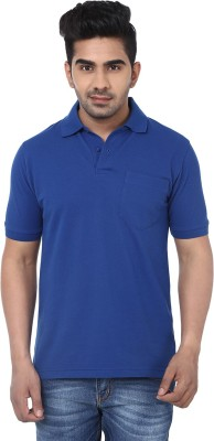 Crocks Club Solid Men's Polo Neck Blue T-Shirt