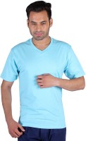Humbert Solid Men's V-neck Light Blue T-Shirt