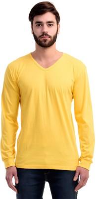Mimoda Solid Men's V-neck Yellow T-Shirt