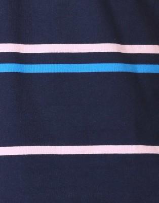 D-Green Striped Men's Polo White, Dark Blue T-Shirt