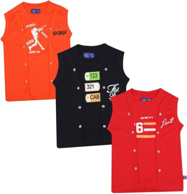 SPN Garments Printed Girl,s Round Neck Orange, Black, Red T-Shirt