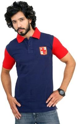 Men In Class Self Design Men's Polo Blue T-Shirt