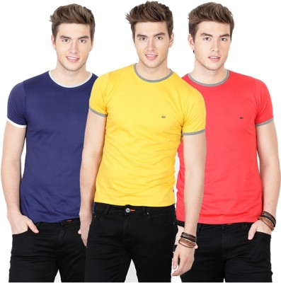 Basics Solid Men's Round Neck Dark Blue, Yellow, Red T-Shirt