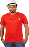 Indophile Printed Men's Round Neck Red T...